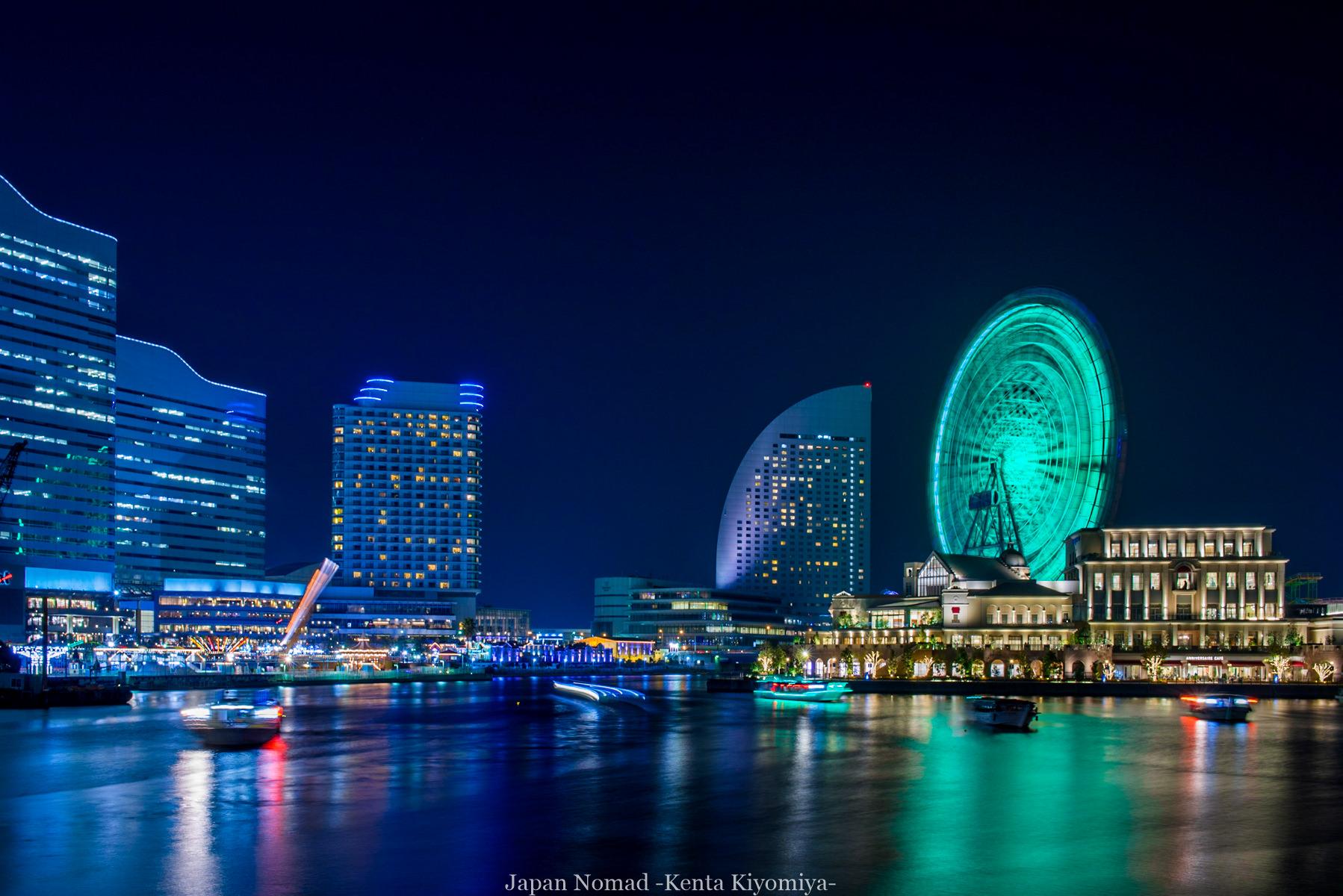 横浜夜景(汽車道・コスモクロック・赤レンガ倉庫)-Japan Nomad (3)