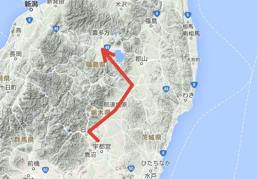 移動ルート(栃木→福島)Japan Nomad