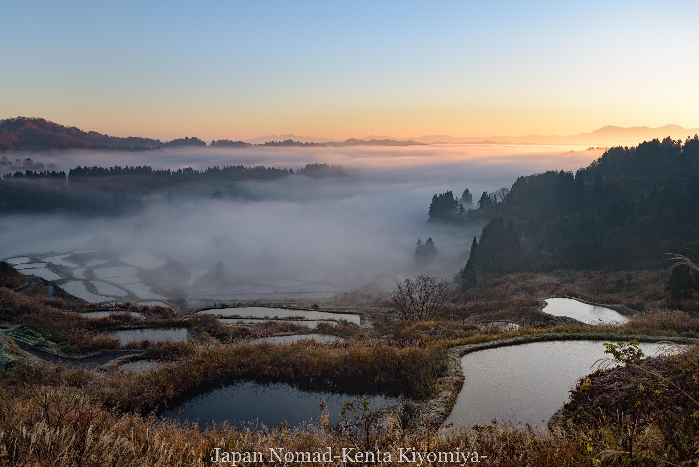 【旅141日目】星峠の棚田で初の棚田撮影、雲海と朝日が幻想的