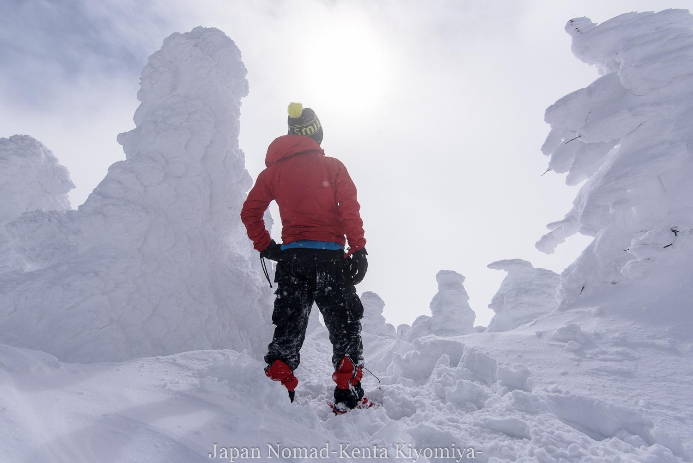 【吾妻連峰】西吾妻山 雪山登山(敗退)~厳冬期の深雪ラッセルと西大顛の樹氷(スノーモンスター)~