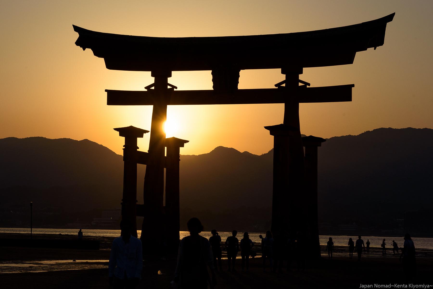 【旅241日目】厳島神社の夕景~干潮なので大鳥居を様々な角度から撮影~